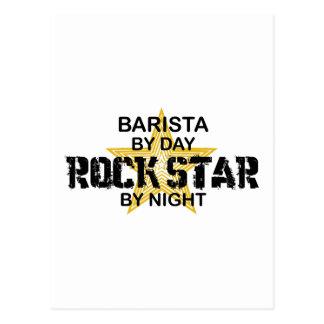 Estrella del rock de Barista por noche Postal