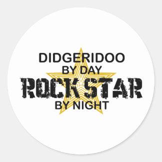 Estrella del rock de Didgeridoo por noche Etiqueta Redonda