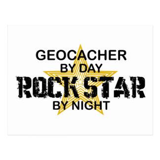 Estrella del rock de Geocacher por noche Postales