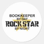 Estrella del rock de la contable pegatina redonda