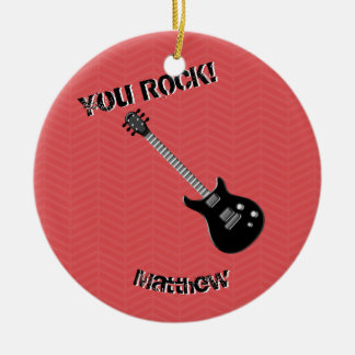 Estrella del rock de la guitarra adorno navideño redondo de cerámica