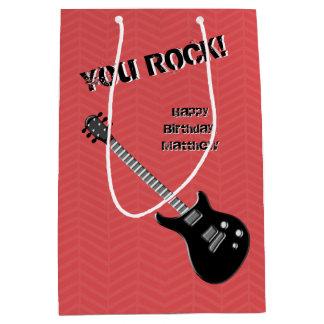 Estrella del rock de la guitarra bolsa de regalo mediana