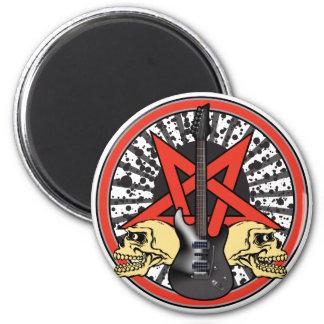 Estrella del rock de la guitarra imán redondo 5 cm