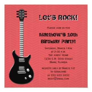 """Estrella del rock de la guitarra invitación 5.25"""" x 5.25"""""""