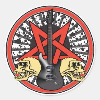 Estrella del rock de la guitarra pegatina redonda