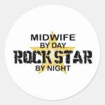 Estrella del rock de la partera por noche pegatinas redondas
