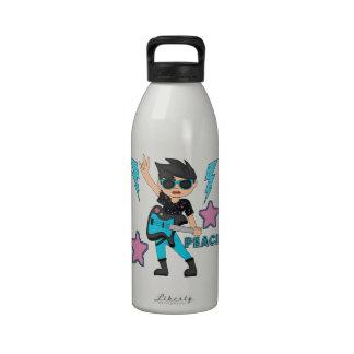 Estrella del rock de la paz botella de beber