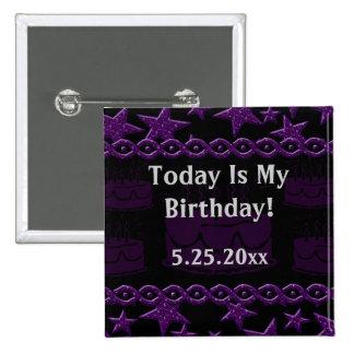 Estrella del rock de la torta de cumpleaños en pin cuadrada 5 cm
