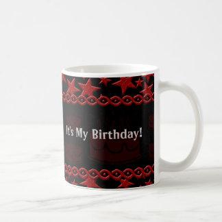 Estrella del rock de la torta de cumpleaños en roj taza