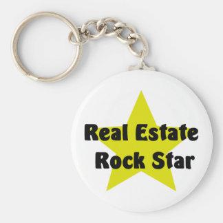 Estrella del rock de las propiedades inmobiliarias llavero redondo tipo pin