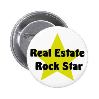 Estrella del rock de las propiedades inmobiliarias pin redondo de 2 pulgadas