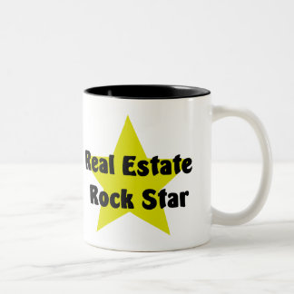 Estrella del rock de las propiedades inmobiliarias taza de café de dos colores