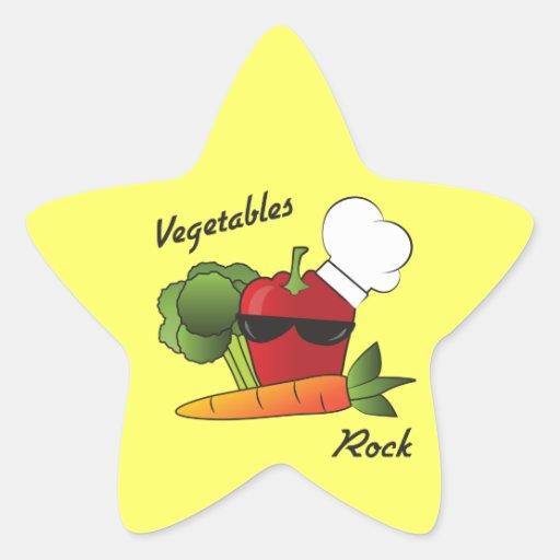 Estrella del rock de las verduras pegatinas forma de estrellaes personalizadas