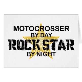 Estrella del rock de Motocrosser por noche Tarjeta De Felicitación