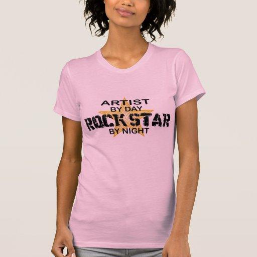 Estrella del rock del artista por noche playera