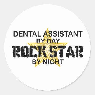 Estrella del rock del ayudante de dentista etiqueta redonda