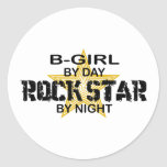Estrella del rock del B-Chica por noche Etiqueta Redonda