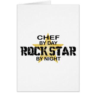 Estrella del rock del cocinero por noche tarjeta de felicitación
