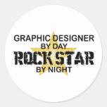 Estrella del rock del diseñador gráfico etiqueta redonda