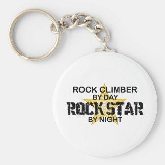 Estrella del rock del escalador de rock por noche llavero redondo tipo pin