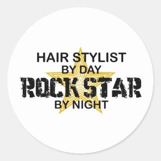 Estrella del rock del estilista por noche pegatina redonda