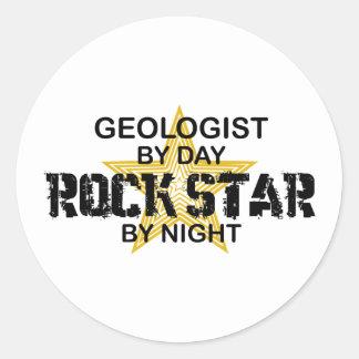 Estrella del rock del geólogo por noche pegatina redonda