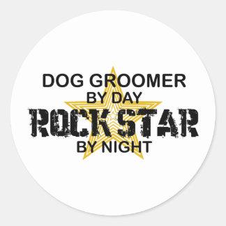 Estrella del rock del Groomer del perro Etiquetas Redondas