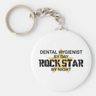 Estrella del rock del higienista dental llavero redondo tipo pin