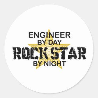 Estrella del rock del ingeniero por noche pegatina redonda