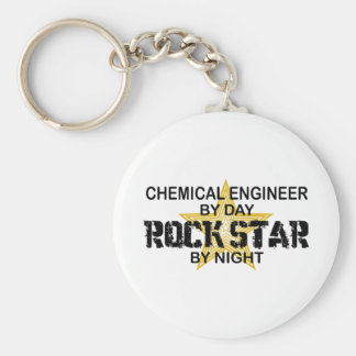 Estrella del rock del ingeniero químico llavero redondo tipo pin
