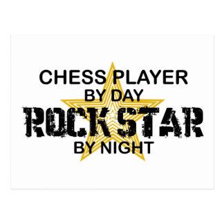 Estrella del rock del jugador de ajedrez por noche tarjeta postal