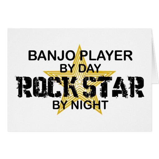 Estrella del rock del jugador del banjo por noche tarjeta de felicitación