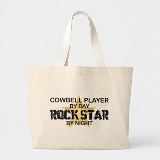 Estrella del rock del jugador del cencerro por noc bolsas lienzo