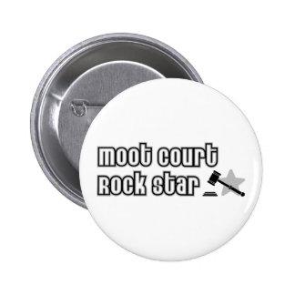 Estrella del rock del juicio simulado pin redondo de 2 pulgadas