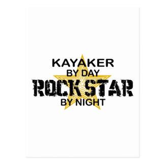 Estrella del rock del Kayaker por noche Postal