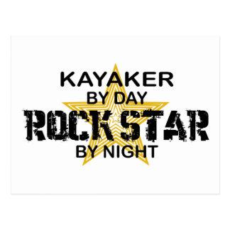 Estrella del rock del Kayaker por noche Postales