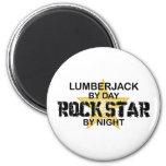 Estrella del rock del leñador por noche imán de frigorifico