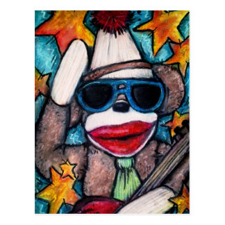 Estrella del rock del mono del calcetín tarjeta postal