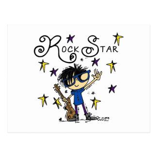Estrella del rock del muchacho del pelo negro tarjeta postal