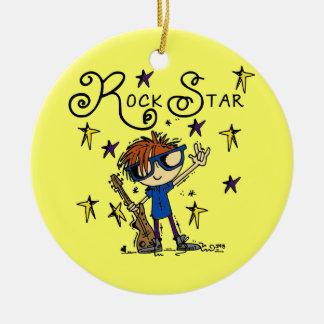 Estrella del rock del muchacho del Redhead Adorno Redondo De Cerámica