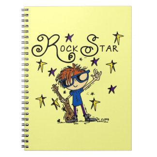 Estrella del rock del muchacho del Redhead Libretas Espirales