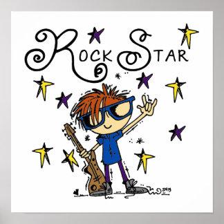 Estrella del rock del muchacho del Redhead Póster