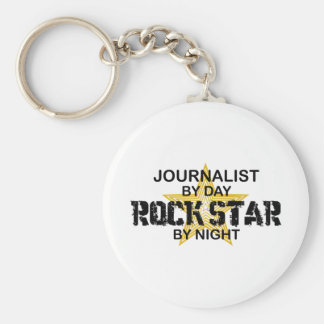 Estrella del rock del periodista por noche llavero redondo tipo pin