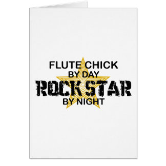 Estrella del rock del polluelo de la flauta por no tarjeta de felicitación