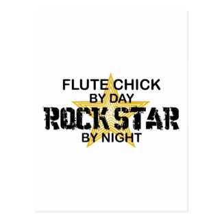 Estrella del rock del polluelo de la flauta por no postales