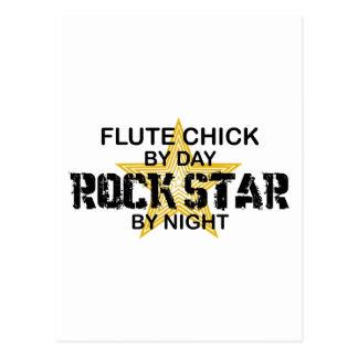 Estrella del rock del polluelo de la flauta por postal