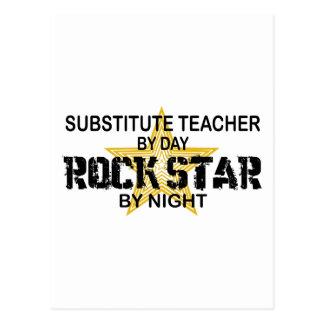 Estrella del rock del profesor sustituto por noche postal