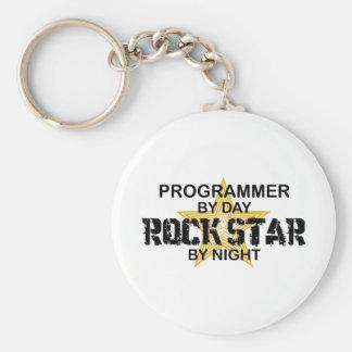 Estrella del rock del programador por noche llavero redondo tipo pin