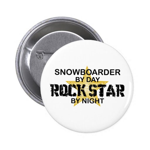 Estrella del rock del Snowboarder por noche Pin Redondo 5 Cm