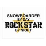 Estrella del rock del Snowboarder por noche Postal